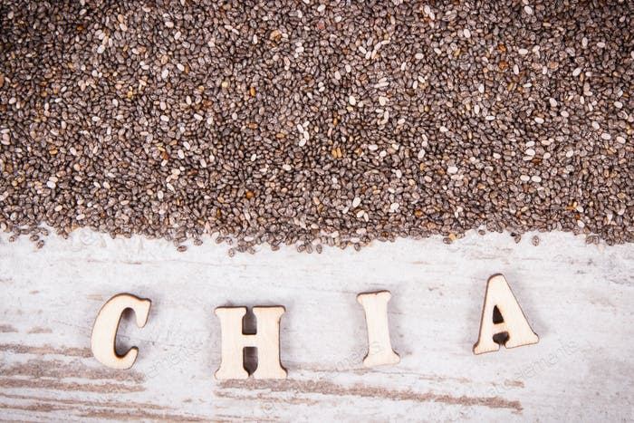 Inscription chia and seeds as source natural vitamins, dietary fiber and minerals
