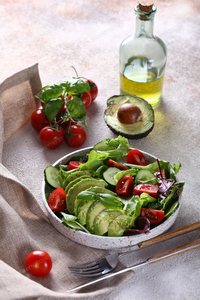 Salad with Ripe Avocado