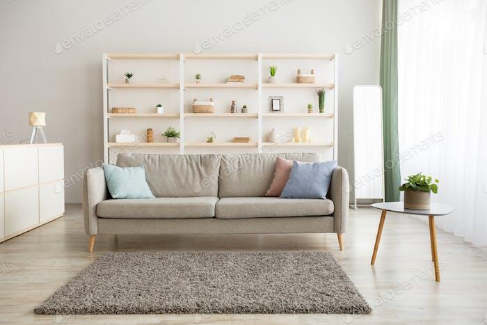Modern minimalist apartment interior in Scandinavian style, ad and mockup