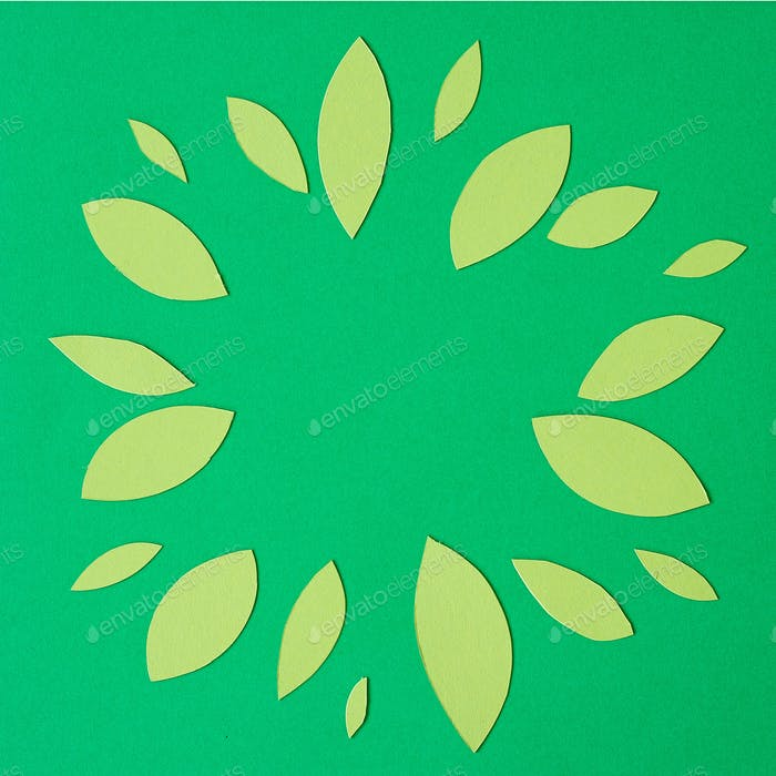 abstract green paper leaves
