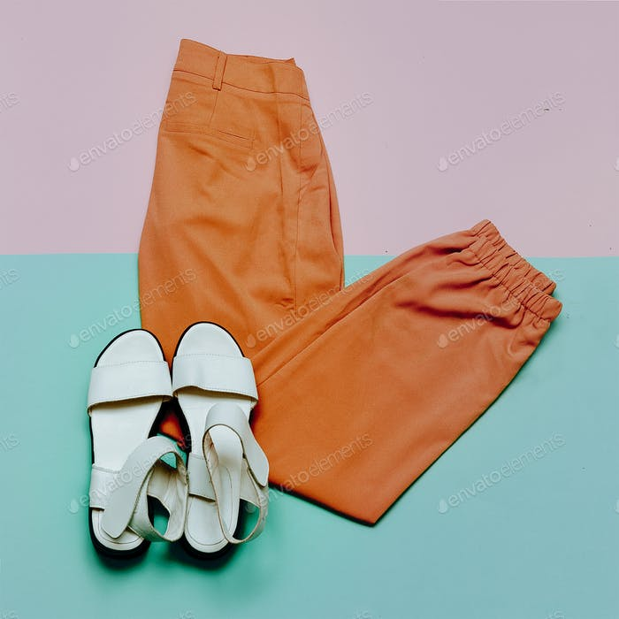 Trousers and sandals. Summer outfit