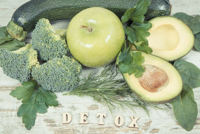 Vintage photo, Inscription detox with natural green ingredients as source vitamins and minerals
