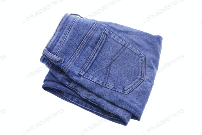 Pair of Folded Denim Jeans