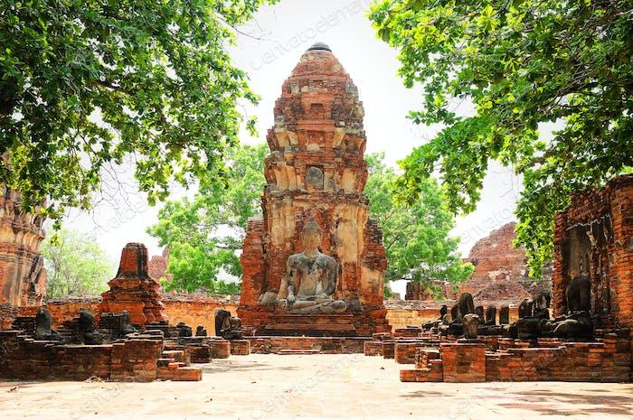 Buddha statue in Wat Mahathat temple, Ayutthaya, Thailand