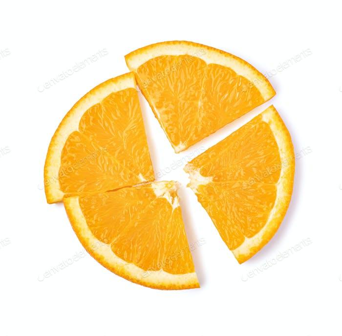 Orangenfrucht in Scheiben geschnitten