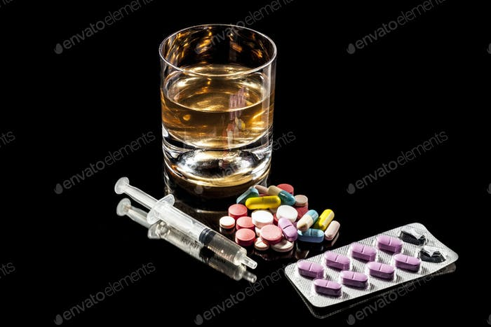 Alcohol Glass and Pills