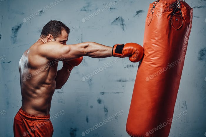 Boxer with protective gloves hitting a punching bag