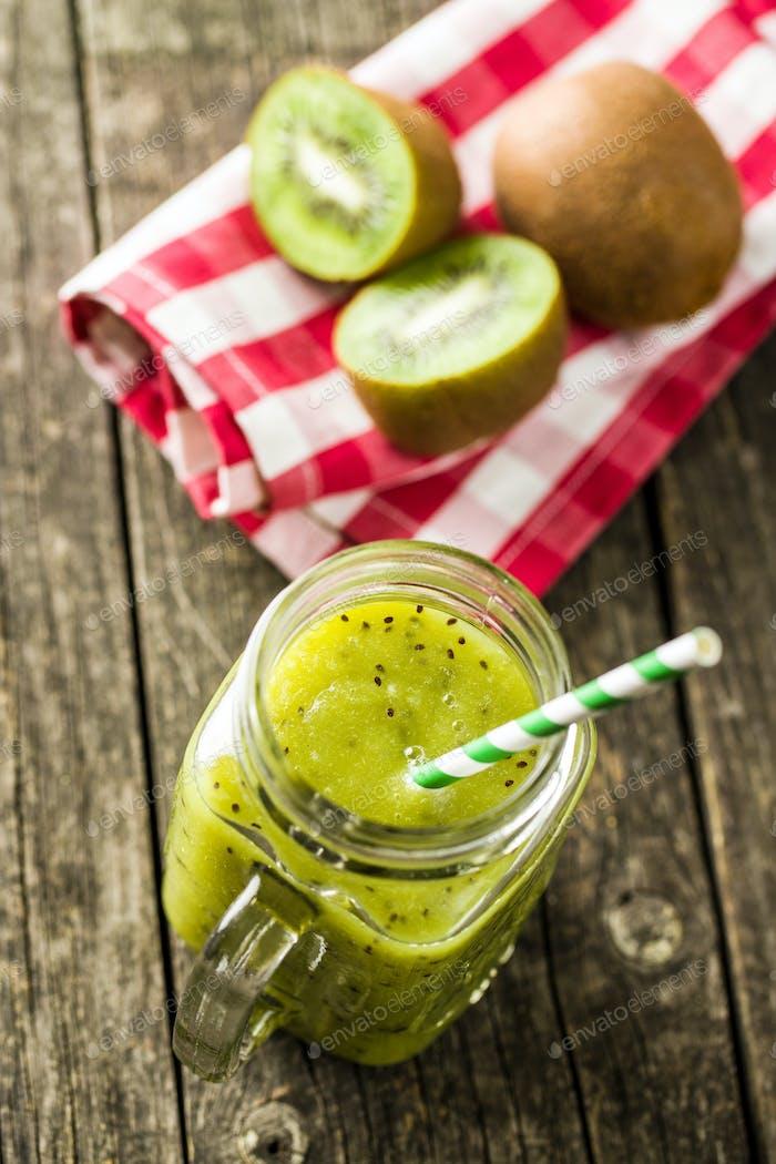Glass of kiwi smoothie juice.