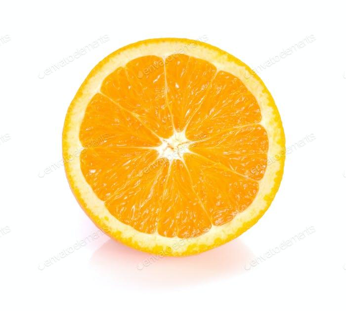 Orange cut  half on white background.