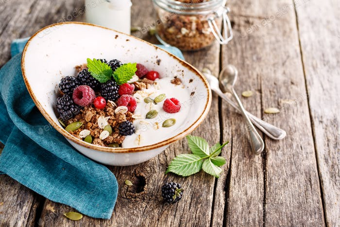 Delicious granola with blackberry