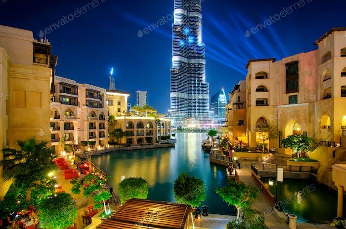 Beautiful downtown area in Dubai at night, Dubai, United Arab Emirates