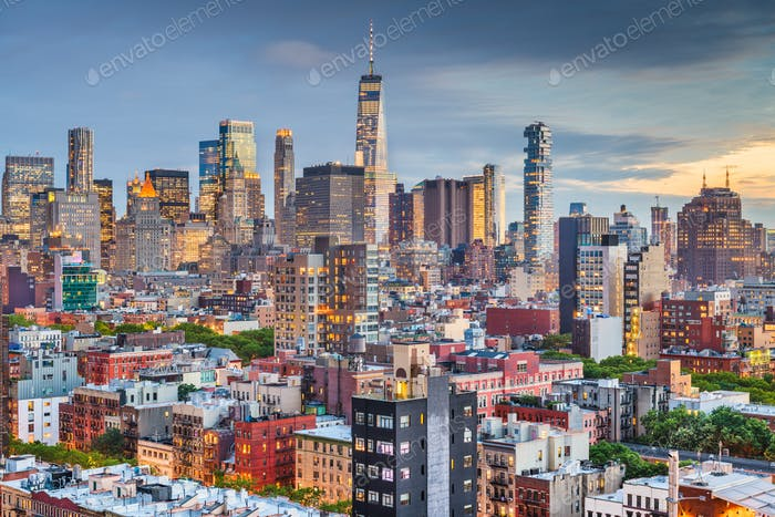 New York, New York, USA downtown city skyline