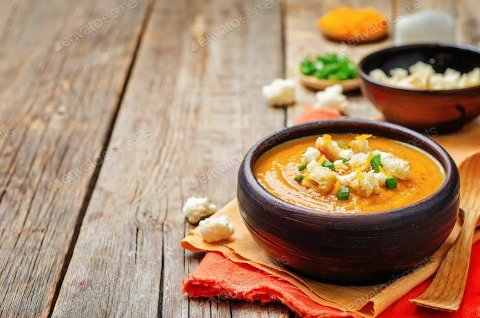 Thumbnail for sweet potatoes cauliflower soup