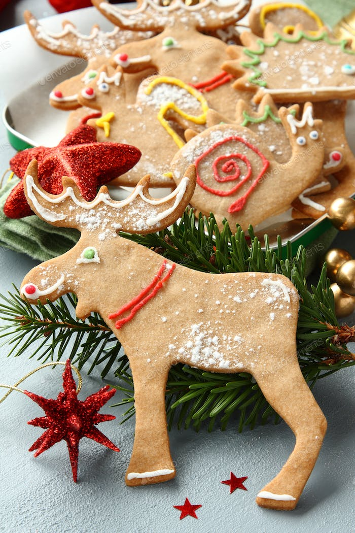 Homemade christmas gingerbread cookies with festive decoration