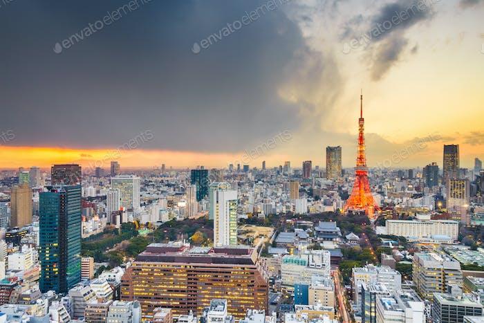 Tokyo, Japan Berühmte Skyline