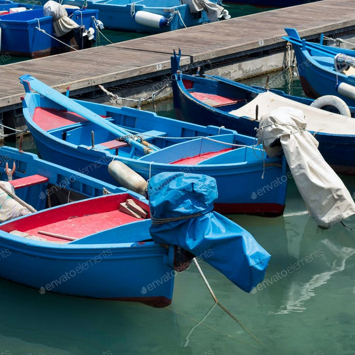 Blue and red fishing boats in harbour, south Italy