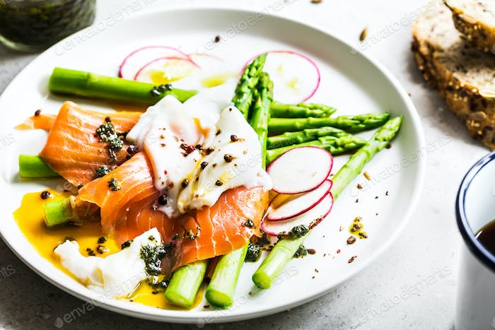 Smoked Salmon,Poached Egg on steamed Asparagus with Basil Pesto