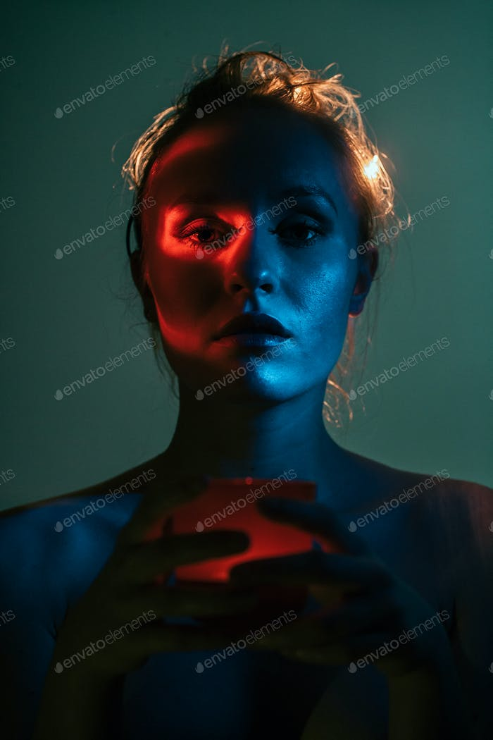 Weird colourful portrait of young woman-1