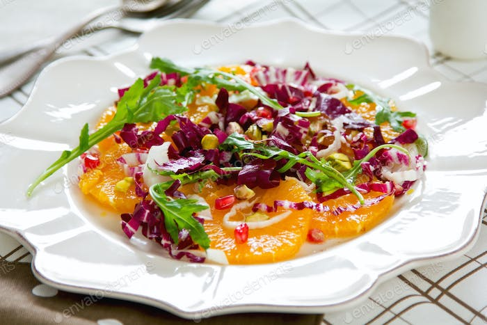 Orange with Radicchio,Pomegranate and Pistachio salad