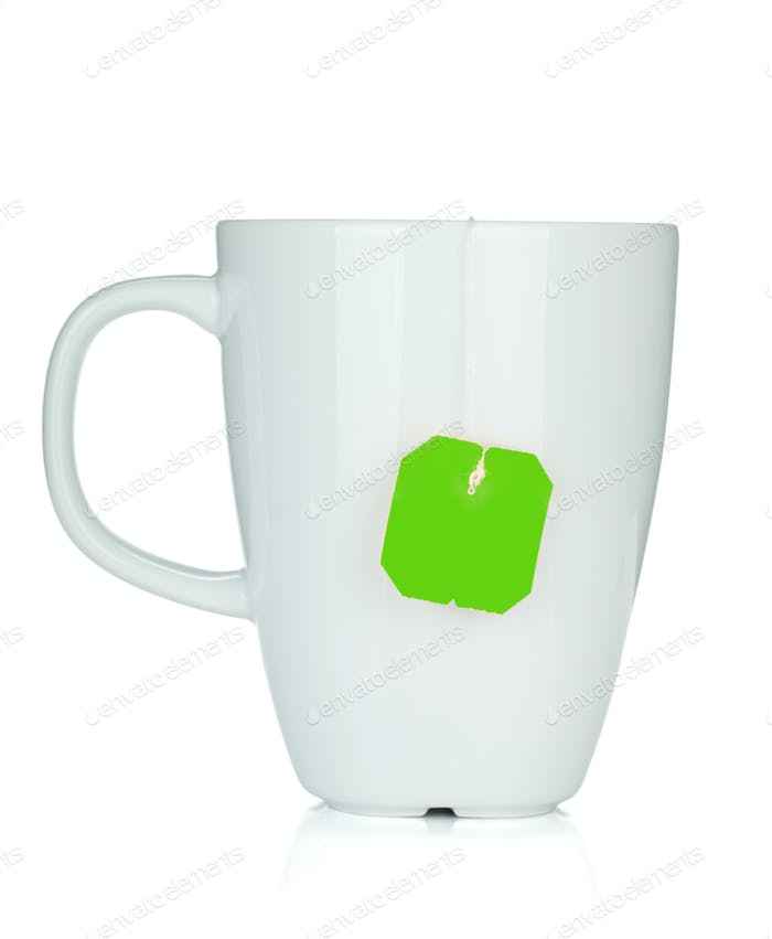 White tea cup with teabag
