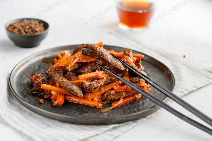 Close-up of Chinese spicy Szechuan beef .