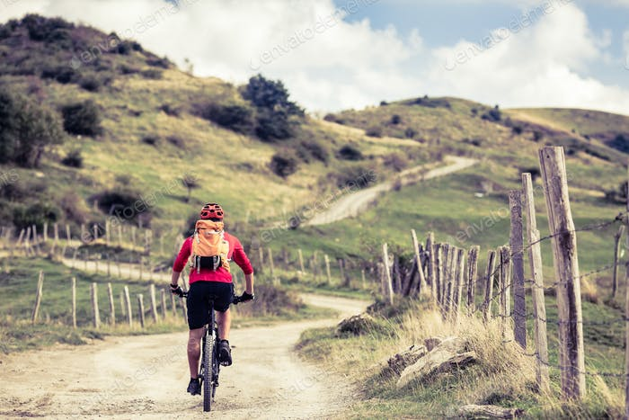 Mountain biker riding on bike in inspiring landscape