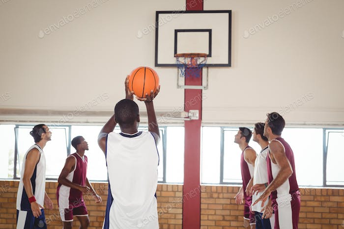 Basketball player taking a penalty shot