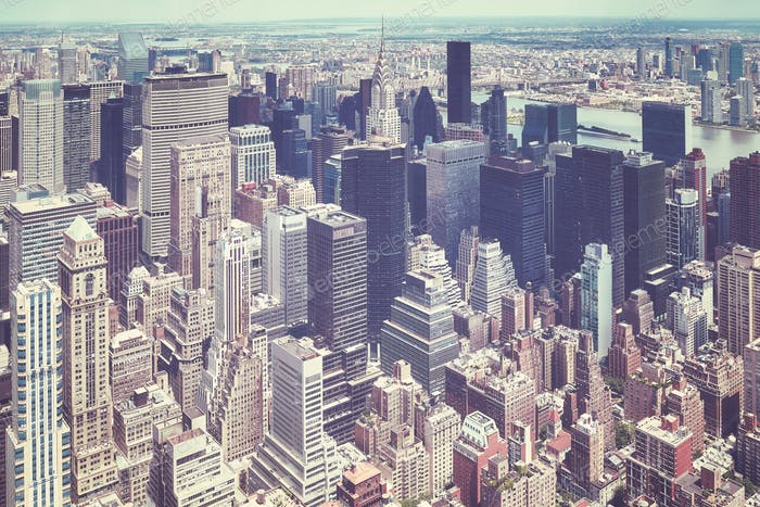 Retro old film stylized aerial picture of Manhattan, NYC.