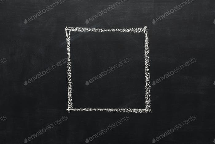 Square drawn with chalk on blackboard