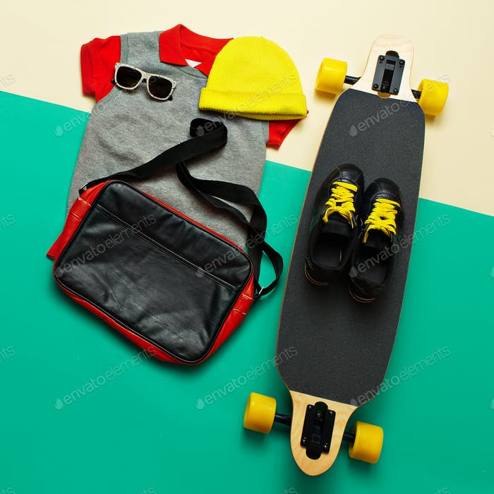 Skateboard set. Accessories. sunglasses sneakers. Skateboard act