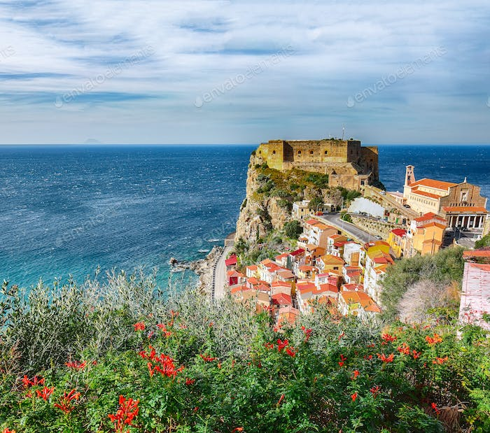 Beautiful seaside town village Scilla with old medieval castle on rock Castello Ruffo