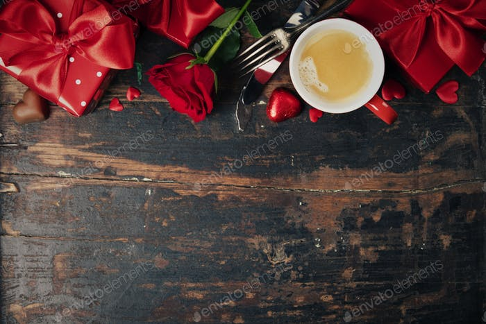 Valentine's day background, flat lay
