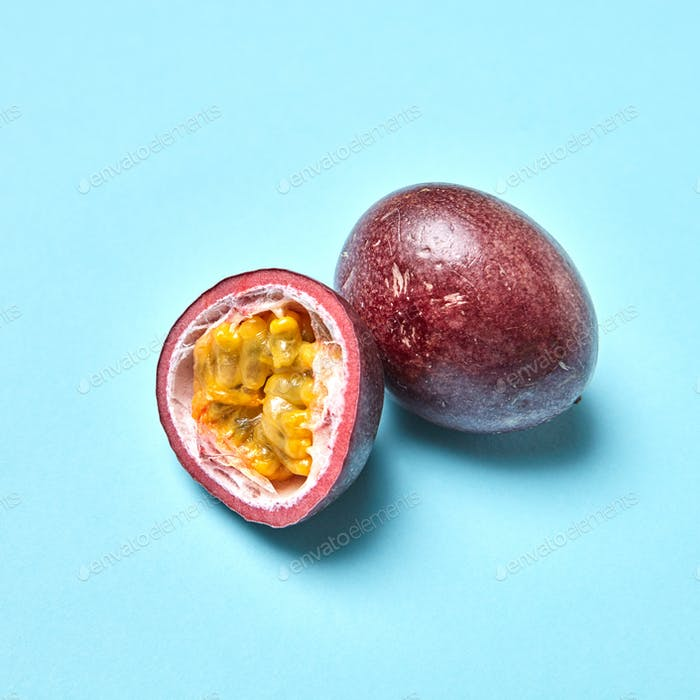 Passion fruit, passionfruit, maraquia whole and half isolated on white background