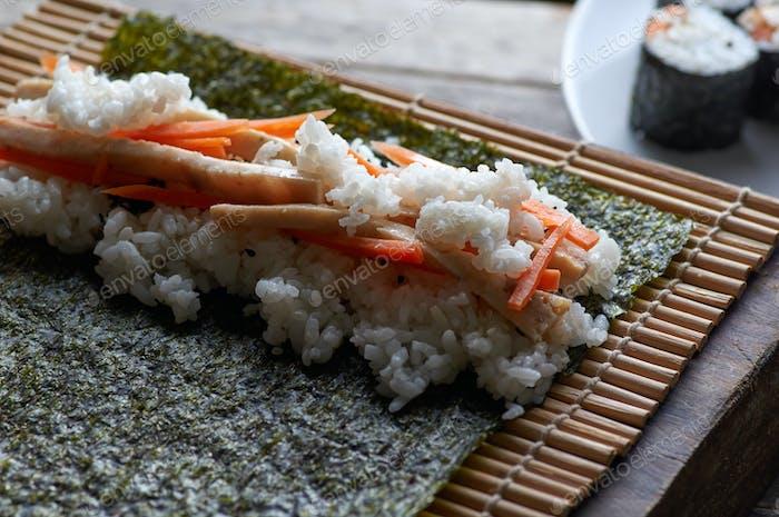 The homemade maki roll sushi
