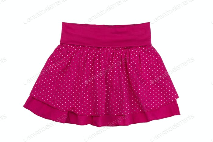 Red skirt with polka dots, isolate