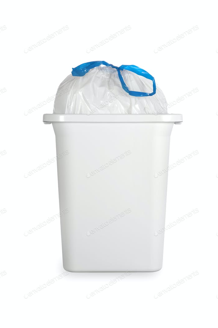White trash can with plastic garbage bag