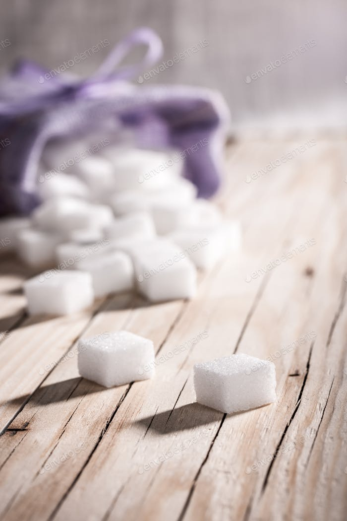 White sugar cubes closeup