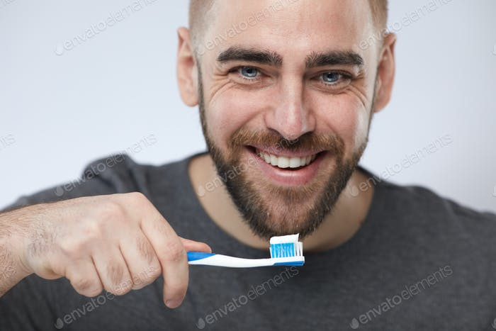 Man With Toothbrush Portrait