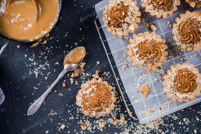 Baking salted caramel toffee cupcakes,sweet pastry food