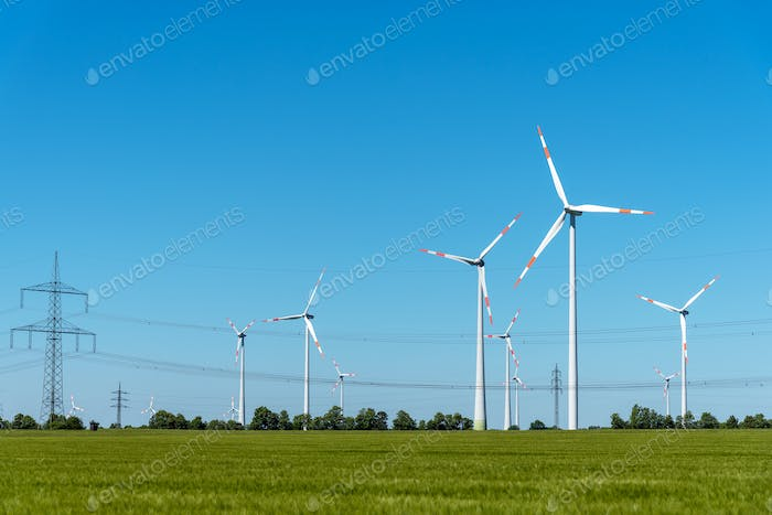 Overhead power lines and wind power plants