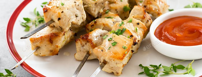 Grilled meat skewers, chicken shish kebab, banner