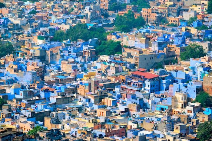 Aéreo de Jodhpur Blue Ciudad. Jodphur, Rajastán, India
