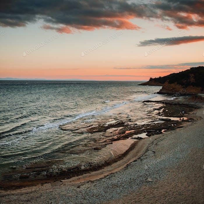 Beautiful sunset landscape on thassos island