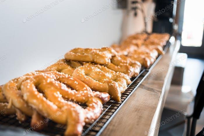 Close-up fresh baked tasty pretzels.