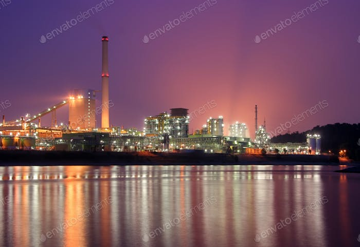 Coking plant with pink sky
