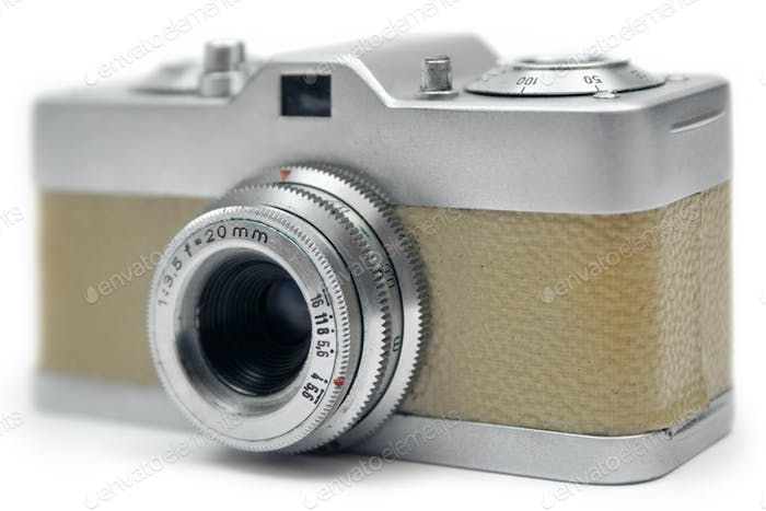 Small Analog Camera Isolated on a White Background