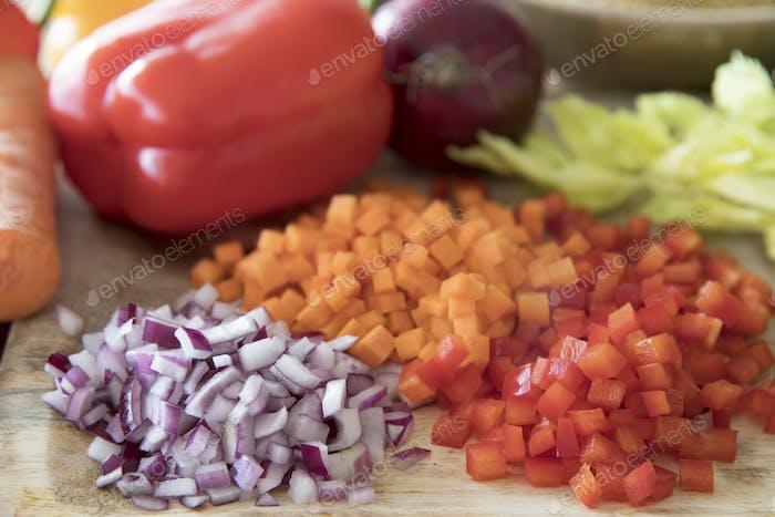 Three Vegetables Diced