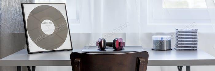 Minimalistic desk in bright living room