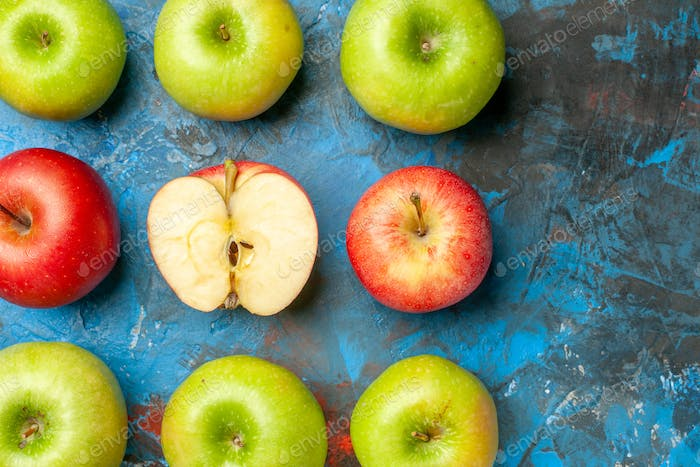 top view fresh apples on blue background ripe mellow photo health diet color