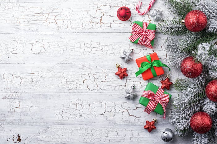 Gift boxes, candy cane and tree